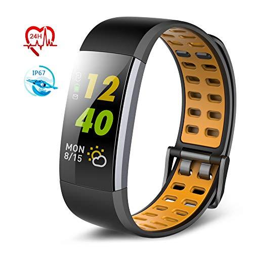 TECKEPIC I7A Montre Connectée Smartwatch Bracelet Connecté Trackers d'activité Podomètre Distance Calories Cardiofréquencemètre iPhone Samsung Android 4.4 iOS 9.0 Smartphone (Noir&Jaune)