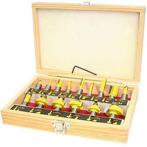 Spares2go Hartmetallbestückte Router Bit (15Stück, 12,7mm 1/5,1cm Schaft) Mdf-sealed Box