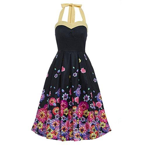 Swing Carola Halterek Kleid mit Blüten Blumen Print schwarz - Vintage, 50er Jahre, Rockabilly - XL / NL42 - Lindy Bop (Lindy Bop Vintage Kleider Schwarz)