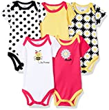 Luvable Friends Baby Infant 5 Pack Bodysuits, Bee, 6M(3-6 Months)