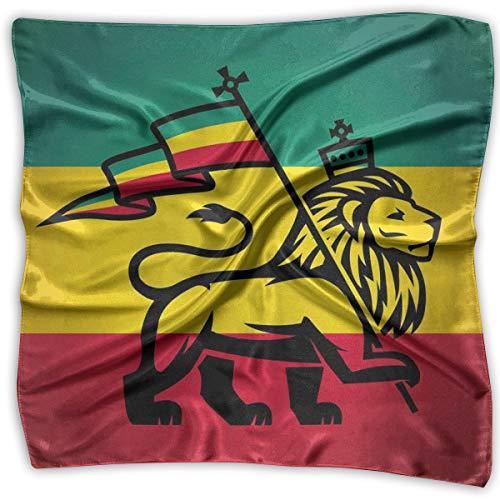 and Neck Tie Neckerchief Headdress Silk-Like,Judah Lion With A Rastafari Flag King Jungle Reggae Theme Art Print,Square Scarves Bandana Scarf ()