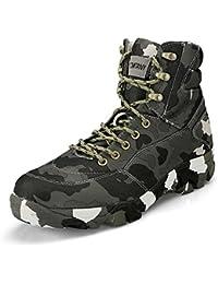 Gomnear Hombres Botas de Senderismo Camuflaje Ejército Militar Transpirable Antideslizante Zapatos de Caza Al Aire Libre