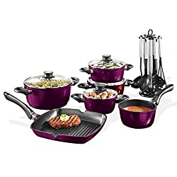 Startherm V2, Topf- und Bratset aus hochwertigem Aluminiumguss inkl. 7-teiligem Küchenhelferset, Violettmetallic