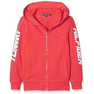 Tommy Hilfiger Jungen Sweatjacke AME Hilfiger Hooded Zipthru, Rot (Cayenne 611), 152 (Herstellergröße: 12)