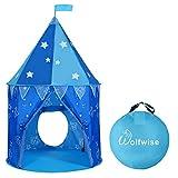 WolfWise Jungen Spielzelt, Prinz Schloss Spielhaus Tippi Kinderzelt für Drinnen/ Draußen, Geschenke für Jungs & Baby, Pop Up mit Tragetasche, Blau