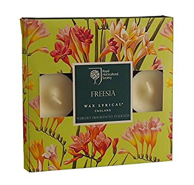 RHS Freesia Scented Tealights, Pack of 9 from Wax Lyrical