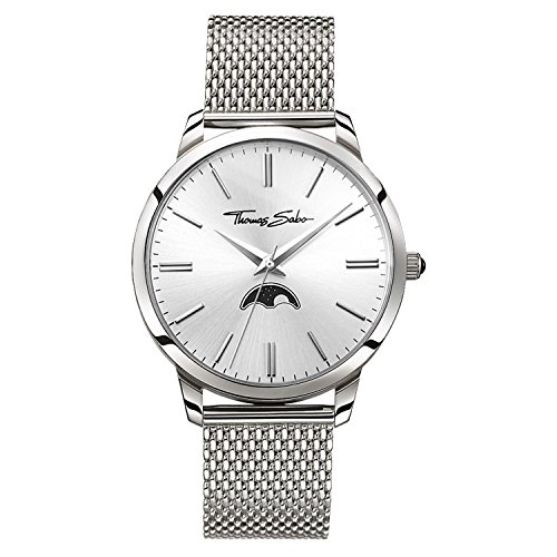 Thomas Sabo Hommes-Montre Rebel Spirit Moonphase argent Analog Quarz WA0324-201-201-42 mm
