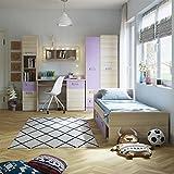 SMARTBett Jugendzimmer Komplett Set Limo 02 (5 TLG.) Esche Natur/Violett, jugendzimmer komplett, kinderzimmer komplett, jugendzimmer komplett Jungen,kinderzimmer möbel, jugendzimmer Jungen