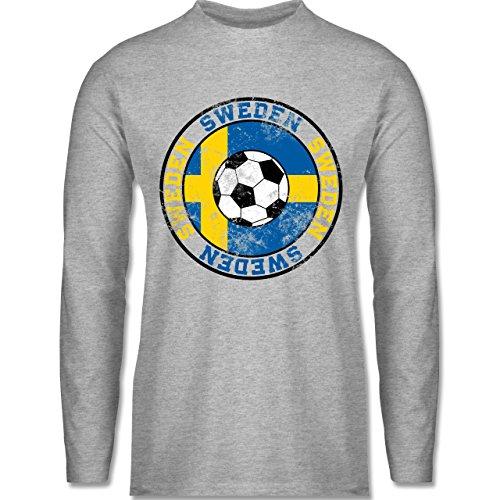 Shirtracer Fußball-WM 2018 - Russland - Sweden Kreis & Fußball Vintage - Herren Langarmshirt Grau Meliert