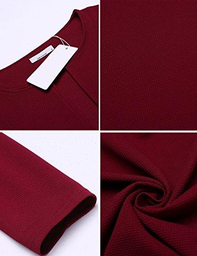 Finejo Damen lang Blazer mit Zipper Jacket-Noos Offene Cardigan Blazer mit Tasche Schwarz XL Weinrot1