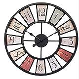 MAJOZ Große Wohnzimmer Wanduhr XL Metall Ø50cm Riesen Vintage Shabby Chic Uhr für die Wand (Ø50cm Metall) (Arabische Ziffern)