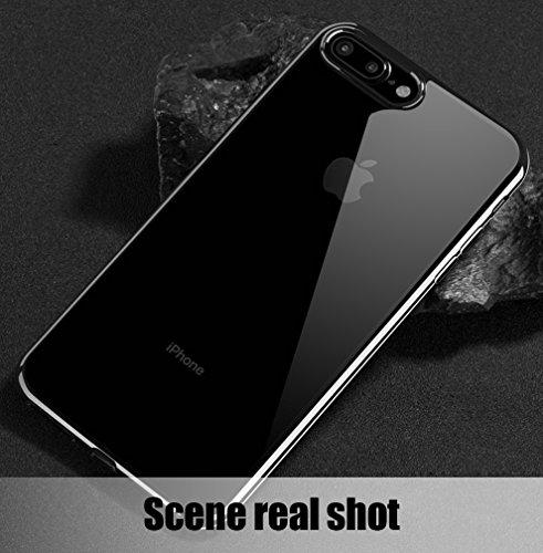 Custodia iPhone 8plus, Custodia iPhone 7 plus,KKtick iPhone 8 plus Cover Custodia Transparent in Silicone Gel Gomma TPU Sottile Slim con Bordo Protezione Fotocamera case per iPhone 8 plus-(Nero) Trasparente