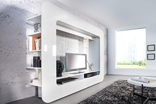 DuNord Design Wohnwand TV-Wand Schrankwand RETROCUBE weiss 185cm Hochglanz Mediawand Anbauwand - 6
