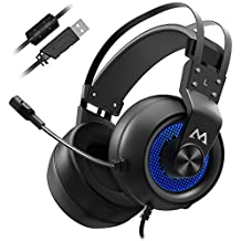 Mpow Gaming Headset, Virtual 7.1 Surround Sound Gaming Headset, 50mm Driver, Stereo USB Headset with Noise Cancelling Mic, Over Ear Soft Memory Earmuff, LED Light, Compatible with PC, PS4 (Black Blue)