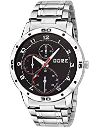 OGRE Analog Black Dial Men's Watch - GY-001 Black Dial Silver Chain