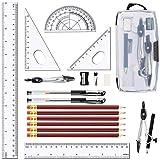 LATERN 20 Stück Geometrie Schulset Zirkel Set Lineal Set Quadrate Kompass + Winkelmesser Bleistifte Radiergummi Bleistifte Anspitzer Bleiminen Gelstift