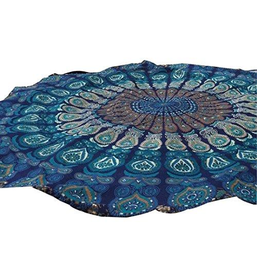 Kanpola Runde Strandtuch Mandala Handwerk Yoga Matten Badetuch Saunatuch Strand Freizeit Pool Handtuch Wickelkleid Bikini Cover Up (J, 150cm)