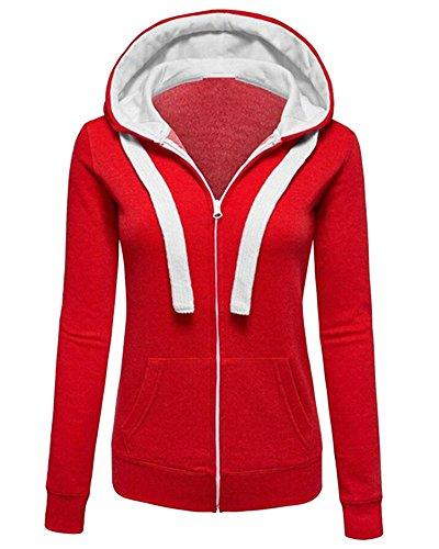 Mesdames Plaine Sweat à Capuche Femmes Zip Haut Veste Hoodies Sweat-shirt Rouge