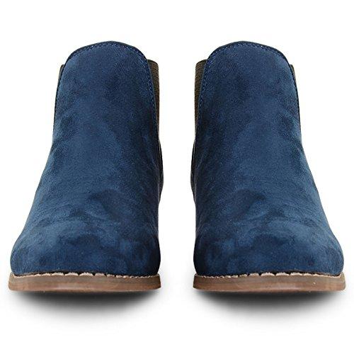Talon Cheville Faible Chelsea Bloc Mesdames sur Bottes Plat Chaussures Dolcis Tirez Taille Bleu Femme qX8xwE4