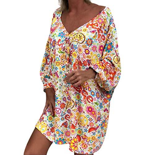 CixNy Damen Sommerkleid Boheme Langarm Tunika Lässig V-Ausschnitt Blumen Vintage Chic Elegant Blumendruck Strandkleid lang Sommer Shirts Top (XXL, Weiß) -