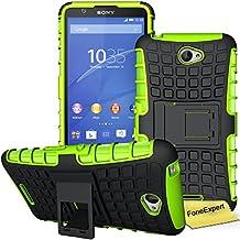 Sony Xperia E4 Funda, FoneExpert® Heavy Duty silicona híbrida con soporte Cáscara de Cubierta Protectora de Doble Capa Funda Caso para Sony Xperia E4 + Protector Pantalla (Green)
