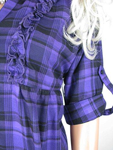 Parure de lit à carreaux gris, violet ou bleu pour femmes Tailles 8–18 Bleu - blue 3/4 sleeve