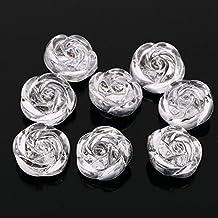 AB6 20pzas Para coser Pedrería Acrílico Transparente 3D BOTONES DE ROSA Destellos Cristal Gemas - Transparente, 25mm
