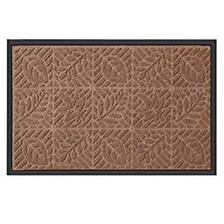 Amagabeli Outdoor Shoes Scraper Doormat for Front Door Leaf Floral Rectangular Door Mat Entrance Non Slip Brown Rug Low Profile Rubber Capet for Outside Patio 24