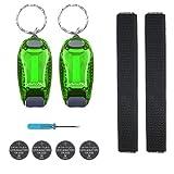 kwmobile 2er Set LED Sicherheitslicht - Blinklicht Licht Clip - Joggen mit Batterien Klett Armband -...