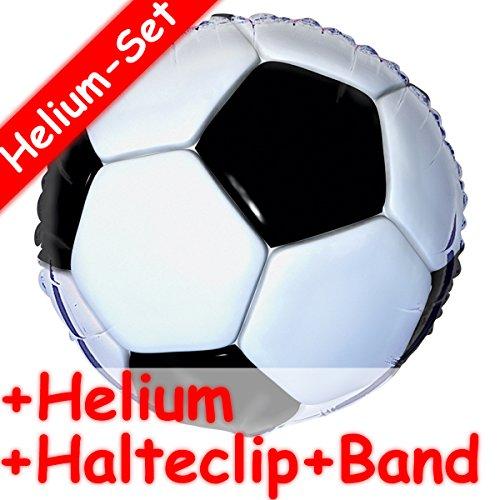 Folienballon Set * FUSSBALL + HELIUM FÜLLUNG + HALTE CLIP + BAND * für Kindergeburtstag und Motto-Party // Kinder Geburtstag Folien Ballon Helium Deko Ballongas Motto WM EM Stadion