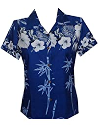 Hawaiian Shirt Women Bamboo Tree Print Aloha Beach Top Blouse