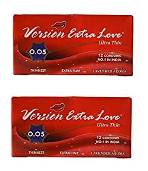 Version Male Condom Extra Love Ultra Thin 0.05 Lavender Flavor Combo 2 Packets (24Pcs)