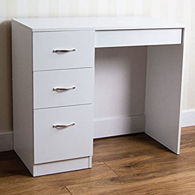 Home Discount White 3 Drawer Dressing Table Makeup Desk Riano Bedroom Furniture - inexpensive UK light shop.
