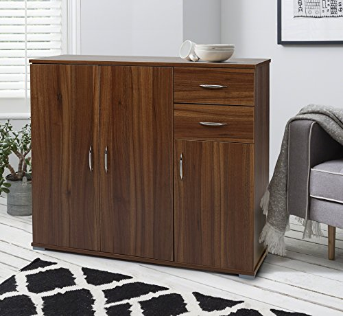 Laura James Sideboard – Home Office Cupboard Cabinet Unit Chest – with 2 drawers and shelf shelves (Walnut)