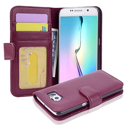 Cadorabo Hülle für Samsung Galaxy S6 - Hülle in Bordeaux LILA – Handyhülle mit 3 Kartenfächern - Case Cover Schutzhülle Etui Tasche Book Klapp Style
