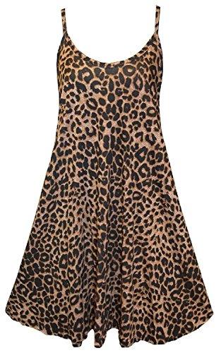 Chocolate Pickle ® Nouveau femmes Femmes plus Taille le Cami à bretelles Plaine Tops longue Robe trapèze 36-54 Léopard