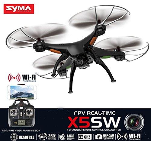 Syma X5SW Axis Gyro RC Headless Quadcopter With Wifi Camera (FPV) Drone - Black