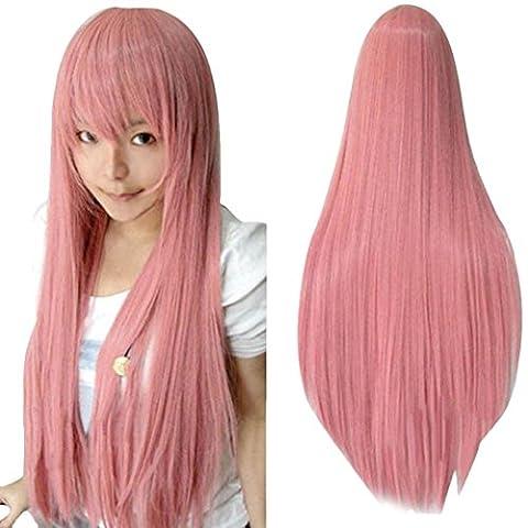 Ularma 80CM Long Ligne droite Cosplay Perruque Multicolor Chaleur Résistant à la Complet Perruques Rose