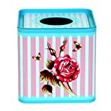 #7: Enwraps Blue Floral Print Square Metal/tin Napkin/Tissue Paper Box/Holder/Dispenser for Home/Car/Office/Creative Living Room/Tea Table Tissue case. LBH(inches)-5X5X5