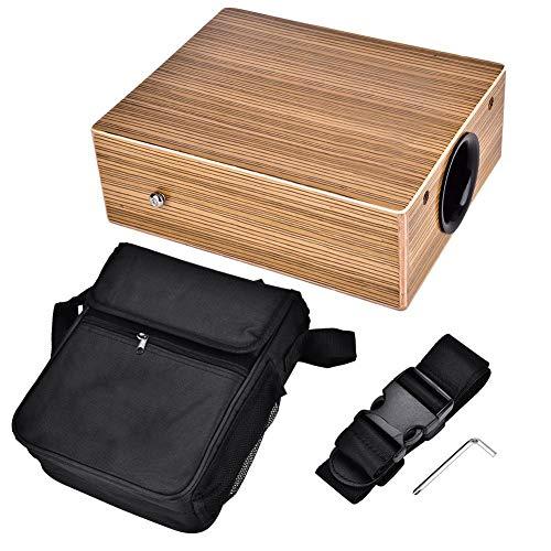 Box Trommel, Tragbare Reisen Cajon Hölzerne Trommel Handtrommel Holz Schlaginstrument mit Gurt-Tragetasche (Hölzerne Trommel)