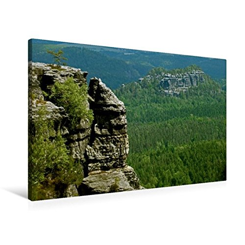 Preisvergleich Produktbild Premium Textil-Leinwand 90 cm x 60 cm quer, Blick zum hinteren Raubschloss   Wandbild, Bild auf Keilrahmen, Fertigbild auf echter Leinwand, Leinwanddruck: Sächsische Schweiz (CALVENDO Natur)