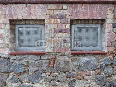 """Alu-Dibond-Bild 40 x 30 cm: """"Kellerfenster im Mauerwerk eines Altbau in Krofdorf-Gleiberg"""", Bild auf Alu-Dibond"""