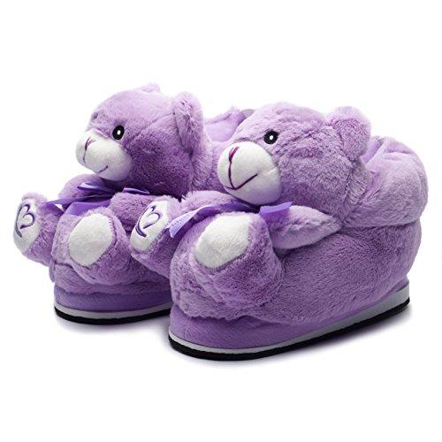 Bär Teddybär Hausschuhe Pantoffeln Slipper, Flauschig Weich Warm, Gr. 36 - 44, Lila (Niedliche Halloween Gesichter)