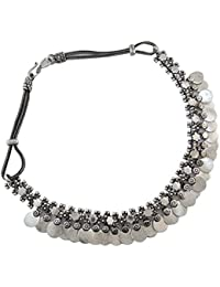 Silver Tone Oxidize Metal Jewellery Vintage Choker Necklace Fashion Jewellery Gift For Women