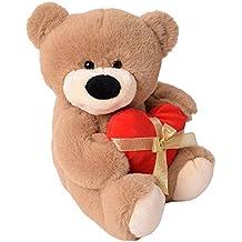 te-trend Felpa osito oso con ROJA corazón y lazo Sentado 33cm Peluche Osito de