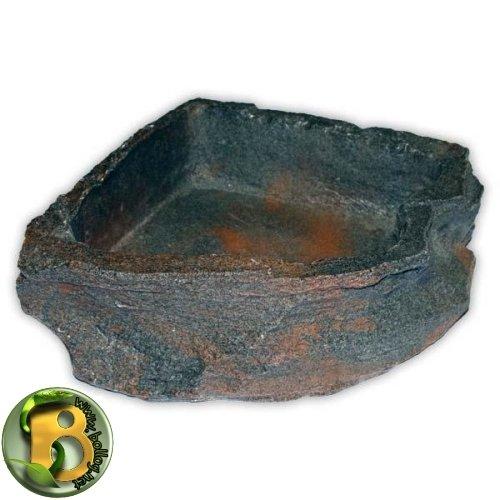 Dragon - Wasserschale - Futternapf - Eckfelsschale Large, Lava Rock 1500ml 24x24x6cm