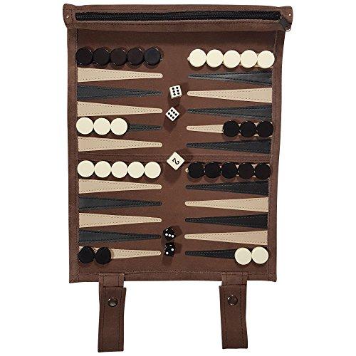 Natureich Reise Backgammon zum Rollen aus Leder inkl. Würfel, Steine Stoffbeutel zur Aufbewahrung