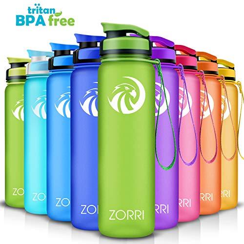 ZORRI Sport Trinkflasche auslaufsicher, BPA Frei & Umweltfreundlich Wasserflasche Für Kinder & Frauen, One Handed Open & Tritan, Für Gym/Outdoor/Camping - Grün - 800ml
