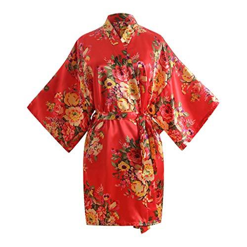 NINGNETI Mujeres Sexy Imprimir Blossom Kimono Bata