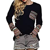 OVERDOSE Mokingtop Damen Floral Splice Printing Rundhals Pullover Bluse Tops T-Shirt (S, C-A-Black)